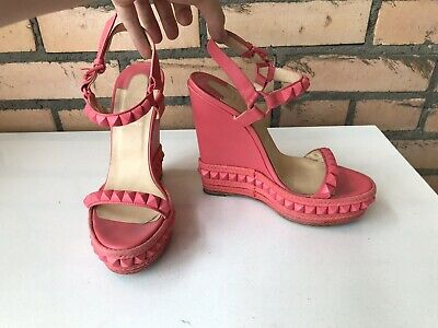aae63070f68 AUTH CHRISTIAN LOUBOUTIN Cataclou 140 Pink Leather Spiked Wedges Sandals 38