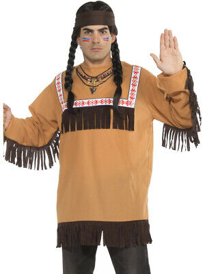 Adult's Mens Native American Brave Tribe Warrior Shirt And Headband Costume