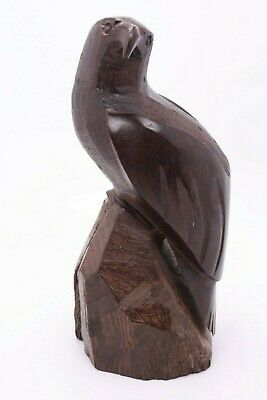 "Wood Hand Carved Vtg Ironwood Falcon Hawk Prey Bird Eagle 9"" Figure Home Decor"