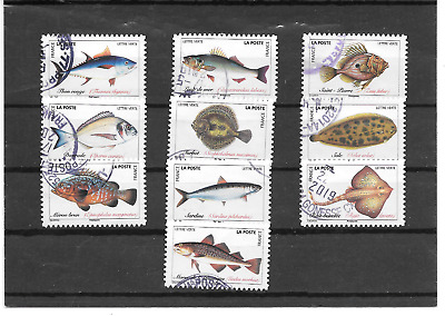 France 2019.Poissons De Mer. Lot De 10 Timbres Autoadhesifs Cachets Ronds