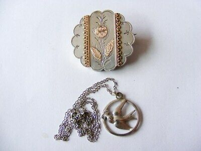 Victorian, Edwardian Silver Brooch & Gold overlay & Love Letter Pendant Necklace