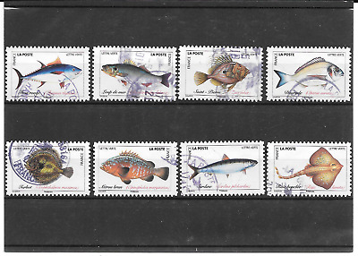 France 2019.Poissons De Mer. Lot De 8 Timbres Autoadhesifs Cachets Ronds