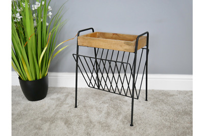 Industrial Vintage Style Metal Solid Wood side table with magazine rack holder