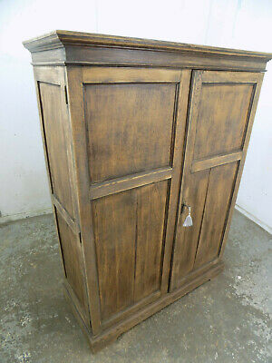 small,vintage,oak,1915,low,double,panelled,wardrobe,drawers,hanging,shelves,