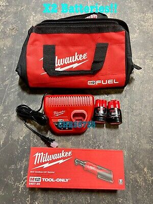 Milwaukee 2457-21 M12 Cordless 3/8 Lithium-Ion Ratchet Kit Two Batteries 1.5 3.0
