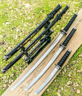 3pc Japanese Samurai Sword Set Ninja Katanas Good Quality Black Dragon Set with