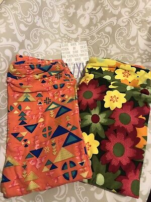 2 Pairs Set! LuLaRoe Kids' Leggings L/XL Floral Teal Green Coral Triangle New