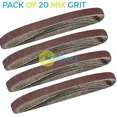 20 Mixed 40 60 80 120 Grit Sander 10mm x 330mm Sanding Belts Sanders Fine Coarse