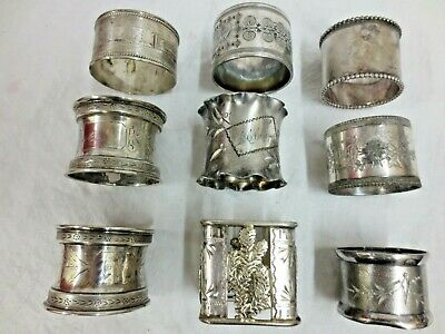 9 Original Victorian Napkin Ring Fancy 3 Are Sterling Silver C-1890 No Reserve