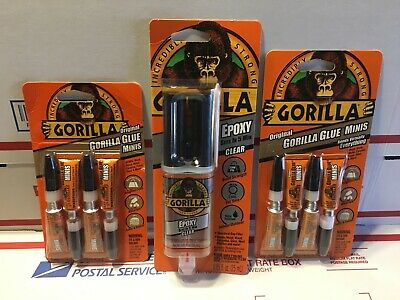 New Gorilla Glue Epoxy Adhesive .85oz High Strength Clear & Minis (2) Lot of 3