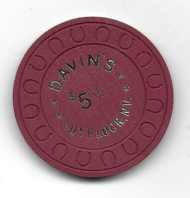 Obsolete $5 Casino Chip From DAVIN'S-Lovelock, Nv. N7522-Closed 1977