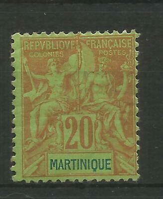 France - Martinique 1892  20 Cent Red On Green Fine Mounted Mint
