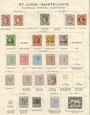 St Lucia From 1860 Scarce  Mixed Mint And Used Stamps On Old Time Album Page