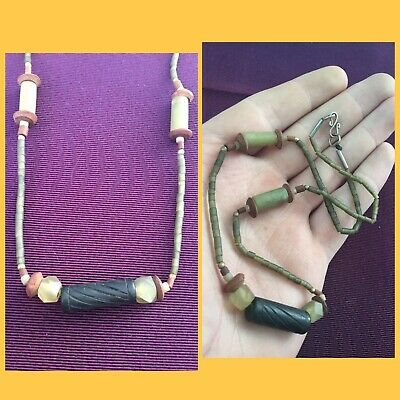 Rare ancient Viking jade bead necklace, 9th to 11th Century ad