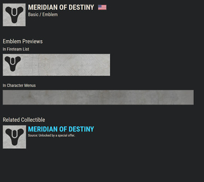 Destiny 2 MERIDIAN OF DESTINY EMBLEM CODE!! !!!INTSANT DELIVERY!!!! CODE IN HAND