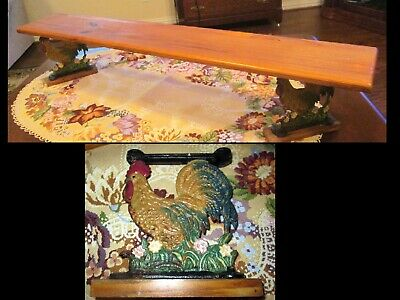 Vintage Cast Iron Painted Metal Rooster Chicken Shelf Brackets Rustic Farm Decor