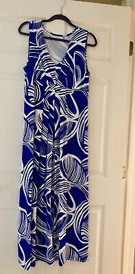 Chico's Size 2  12-14 Maxi Dress Royal Blue White Ikat Pattern Original Owner