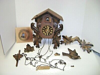 Vintage Used Cuckoo Clock For Parts or Fix Up. Western Germany  Movement