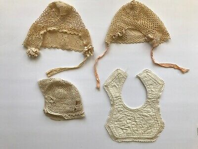 3 Antique Lace Baby's Crochet Lace Bonnet Hat Cap & Bib