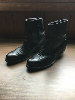 Vintage MEN'S BLACK LEATHER WESTERN ANKLE BOOTS Double-H Boot Co. Western Zip 9D