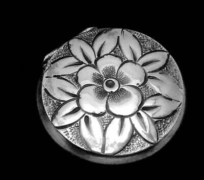 Vintage Sterling Silver Floral Snuff Trinket Pill Box B Co 24818