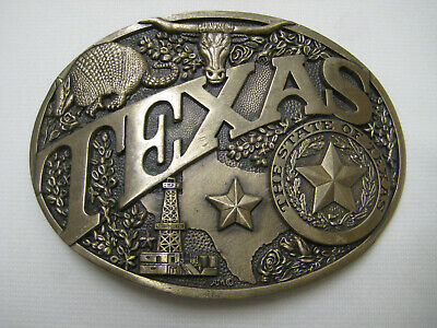 Vintage Oval Belt Buckle Solid Brass, The State Of Texas, Award Design Medals