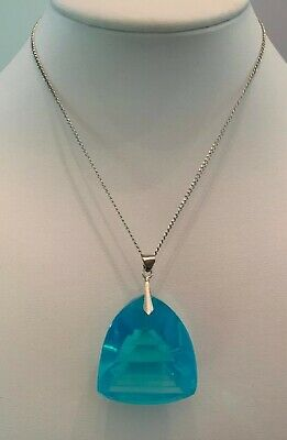 Vintage Aqua Blue Reversed Etched Glass Chinese Pagoda Necklace Sterling Silver