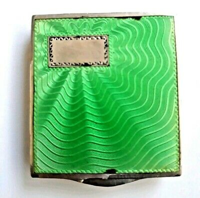 Antique Art Deco Austrian Sterling Silver Powder Compact with Green Guilloche.