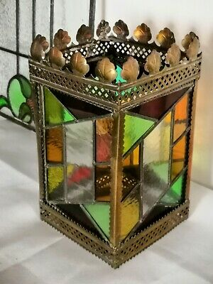 Antique Victorian Large Stained Glass & Lead Porch Lantern / Hall Light