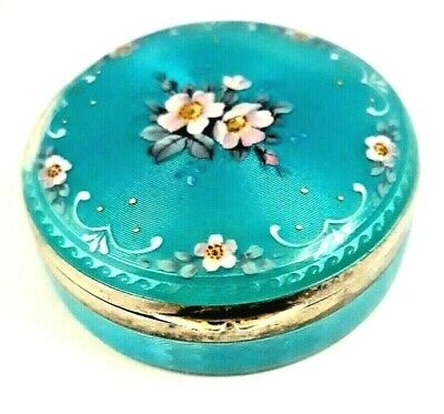 Antique 935 Sterling Silver & TURQUOISE Guilloche Enameled Powder Compact.