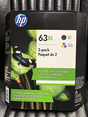 2-PACK HP GENUINE 63XL Black & Tri-Color Ink (RETAIL BOX) OFFICEJET 3831 4650