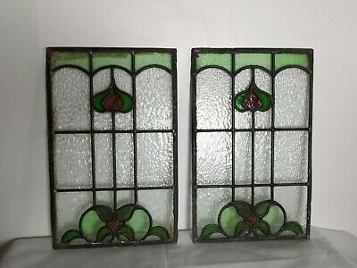 Antique Stained Glass  Panels  - 2 Panels ~ Stamford
