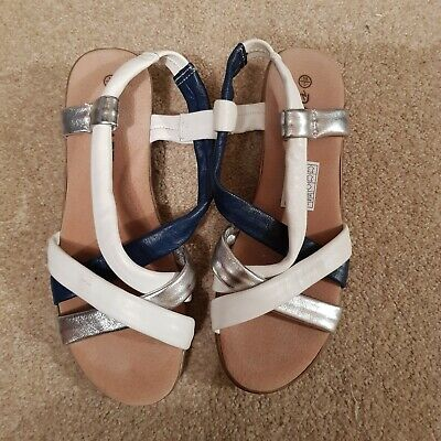 reasonably priced shoes for cheap shop DAMART NAVY, WHITE & Silver Leather Sandals Size 5 - £9.00 ...