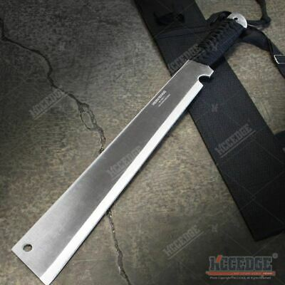 "19"" Chrome FLAT HEAD FULL TANG CHOPPER MACHETE SWORD Fixed Blade Survival SHARP"