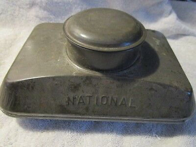 Antique Primitive National Brand Miner's Tin Lunchbox With Lid Opening