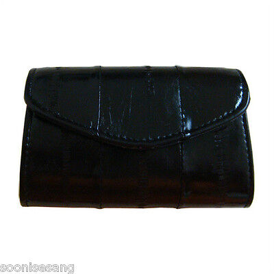 Genuine Eel Skin Leather Button Coin Purse Rectangle Mini Wallet (Black)