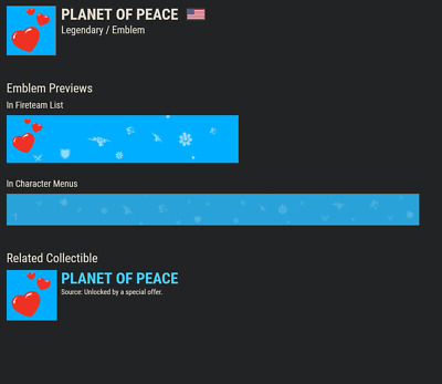 Destiny 2 PLANET OF PEACE EMBLEM CODE !!!!!NSTANT DELIVERY!!!! Code in Hand!!!!!