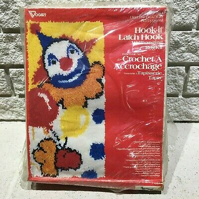 Vogart Crafts Hook It Rug Latch Hook Kit  4914 Clown with Baloons 12 x 24 Wall