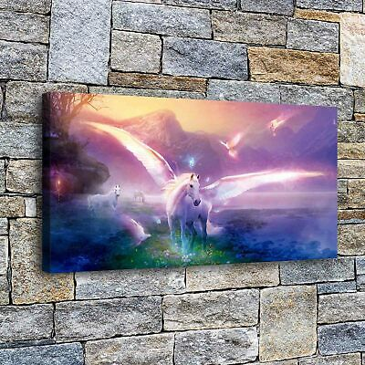 """Unicorn with wings HD Canvas prints Painting Home decor Picture Wall art16""""x32"""""""