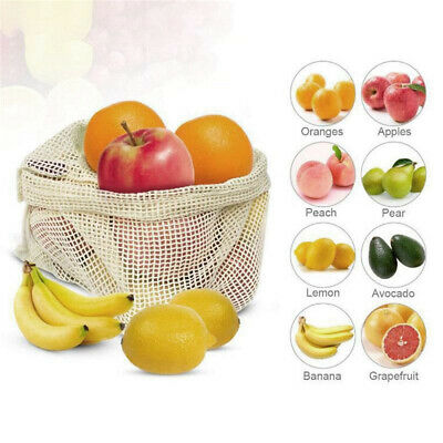 Draw bags Cotton Reusable Mesh Veggie Produce Bags Heavy-Duty Natural