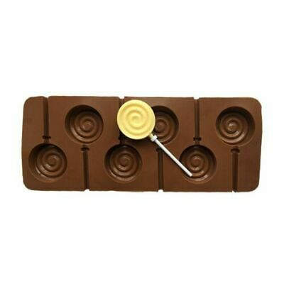 6-Cavity DIY Round Spiral Swirl Shape 3D Silicone Lollipop Candy Mould Chocolate