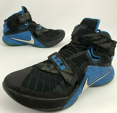 free shipping ee6a5 15864 MEN'S NIKE LEBRON James Basketball Soldier 9 IX PRM Black Blue Size 10