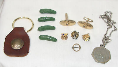 Keychain & Pin Lot + Buffalo Nickel, Pickles, Fraternal Pins, Chrsitian Science