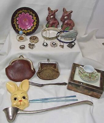 Junk Drawer Lot - Wood Bowl, Vintage Jewelry, Perfume, Old Leather Chain Purses+