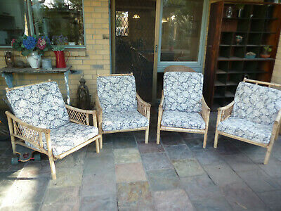 Vintage Cane Chairs - four including cushions, genuine mid century era.
