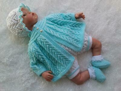 Stunning Hand Knitted 4 Piece Matinee Set for a Baby Girl or Reborn Doll