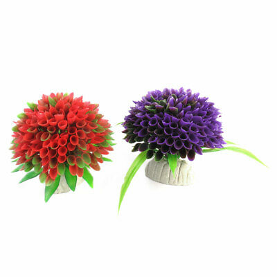 2Pcs Aquarium Purple Red Plastic Grass Seaweed Ball Bulb Decor 8cm Dia