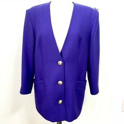 Vintage Givenchy Blazer Jacket Dress Purple Blue Gold Size 12 100% Shearing Wool