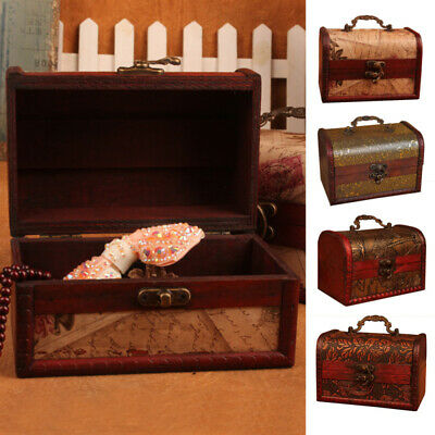 Vintage Wooden Treasure Chest Wood Jewellery Storage Box Case Organise MZX