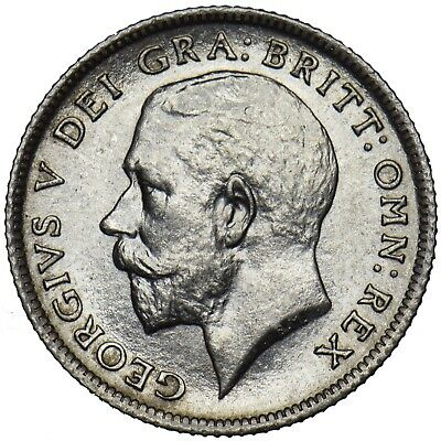 1911 Sixpence - George V British Silver Coin - Superb